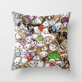 One Hundred Million Ferrets Throw Pillow