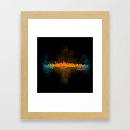 Vancouver Canada City Skyline Hq v04 dark Framed Art Print