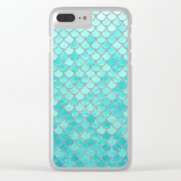 Teal Mermaid Scales Clear iPhone Case