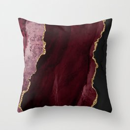 Agate, Burgundy Pink Faux Gold Throw Pillow