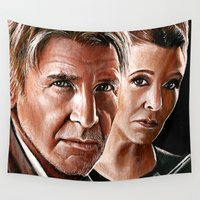 han solo Wall Tapestries featuring Han Solo and Princess Leia  by Manuela Mishkova