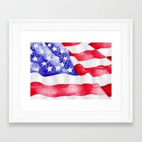 american flag Framed Art Prints featuring American Flag by Bridget Davidson