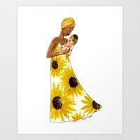 Sunflower mother Art Print