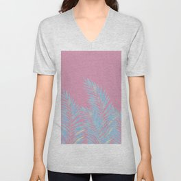 Palm Leaves Blue And Pink Unisex V-Neck