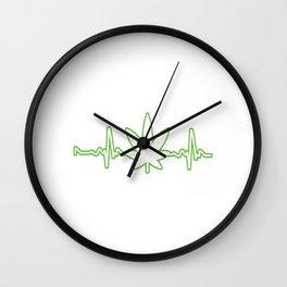 Nice Cannabis Tee For High People Heartbeat Weed T-shirt Design Marijuana Medication Legalized Wall Clock