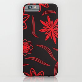 pattern with leaves and flowers linocut style iPhone Case
