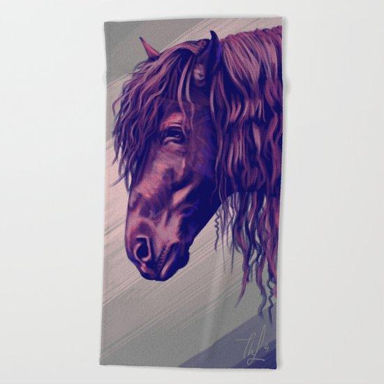 Purple horse portrait Beach Towel
