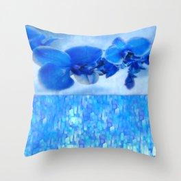 Blue Orchids Throw Pillow