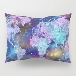 world map galaxy purple Pillow Sham