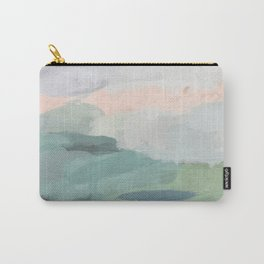 Seafoam Green Mint Black Blush Pink Abstract Nature Land Art Painting Carry-All Pouch