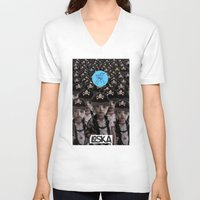 mass effect V-neck T-shirts featuring Mass Effect by LOSKA