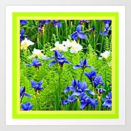 WHITE-BLUE IRIS & CHARTREUSE FERNS GARDEN Art Print