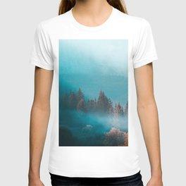 Shining light on foggy autumn forest T-shirt