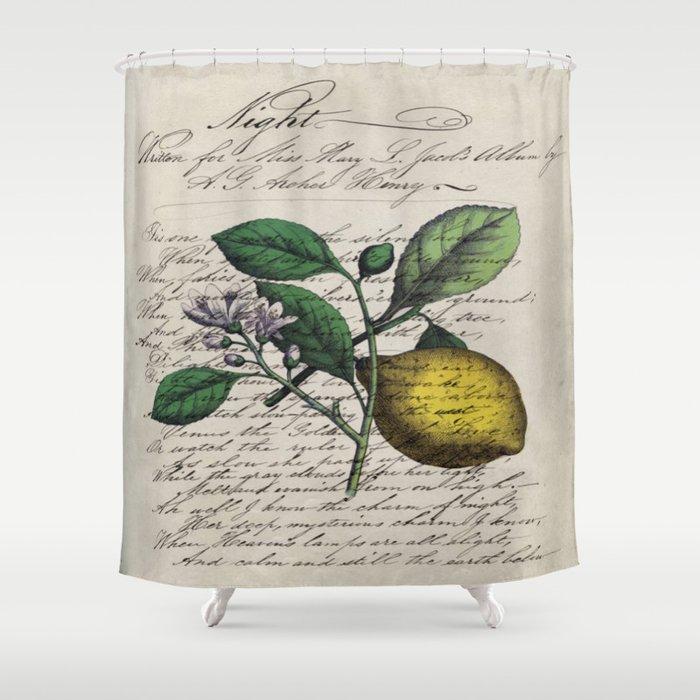 vintage Mediterranean summer fruit orchard citrus blossom yellow lemon Shower Curtain
