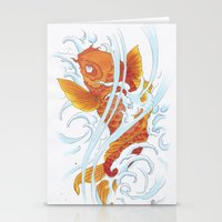 koi fish Stationery Cards featuring Koi Fish by Give me Violence