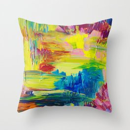 GOING THROUGH THE MOTIONS -  Stunning Saturated Bold Colors Modern Nature Abstract Throw Pillow
