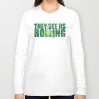 seahawks Long Sleeve T-shirts featuring They See Us Rolling - Seattle Seahawks Michael Bennett on a Bicycle by Madeline Timm
