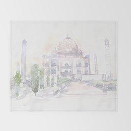 Watercolor landscape illustration_India - Taj Mahal Throw Blanket