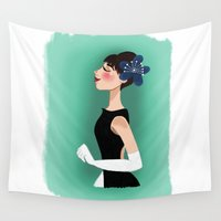 hepburn Wall Tapestries featuring Audrey Hepburn by carotoki art and love