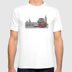 Black and White London with Red Bus MEDIUM Mens Fitted Tee White