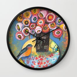 Bluebird with Bouquet by Robynne Wall Clock
