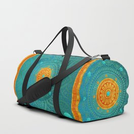 """Turquoise and Gold Mandala"" Duffle Bag"