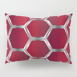 Red and silver octagonal geometric pattern Pillow Sham