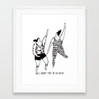 be happy Framed Art Prints featuring happy by mariana, a miserável(the miserable one)