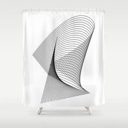 """""""Linear Collection"""" - Minimal Letter R Print Shower Curtain"""