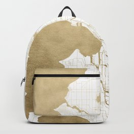Seattle White and Gold Map Backpack
