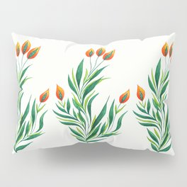 Abstract Green Plant With Orange Buds Pillow Sham