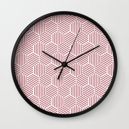 Hexagons Patterns on Red Wall Clock