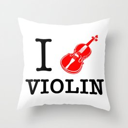 I Love Violin Throw Pillow