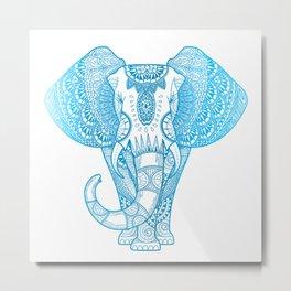 Teal Blue Elephant Metal Print