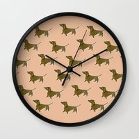 dachshund Wall Clocks featuring Dachshund by Emma Pennington