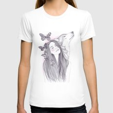 Wolf To The Moon White Womens Fitted Tee SMALL