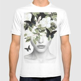 Woman With Flowers and Butterflies 3 T-shirt