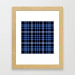 Blue & White Scottish Tartan Plaid Pattern Framed Art Print