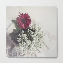Red Daisy Soft and Airy Square Metal Print