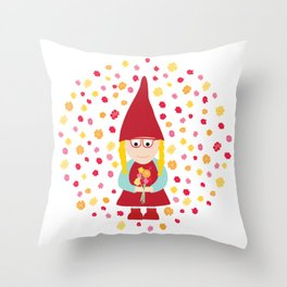 gnome girl with flowers Throw Pillow