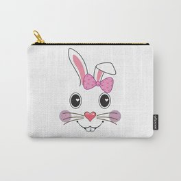 Bunny Face Cute Bow Little Easter Bunny Kids T-Shirt Girls Carry-All Pouch