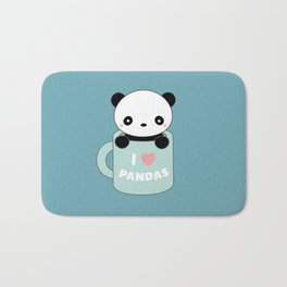 Kawaii I Love Pandas Bath Mat