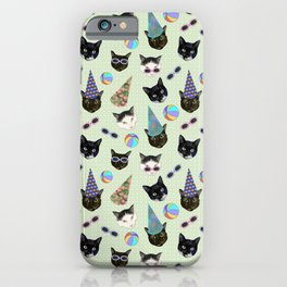 Festive Birthday Cute Cats Party - Green Theme iPhone Case