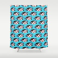 dia de los muertos Shower Curtains featuring Dia de los Muertos by The Art of Missy