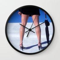 "legs Wall Clocks featuring ""Legs"" by Kelly Nicolaisen"