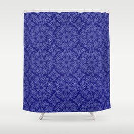 Light blue lace on a dark blue background Shower Curtain