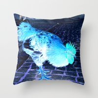 cock Throw Pillows featuring cock animal by habish