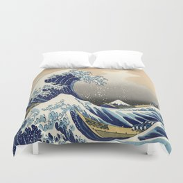 seascape painting japanese ukiyo e art the great wave off kanagawa Duvet Cover