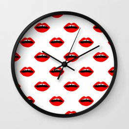 Lips minimal pattern cute gift for valentines day love lipstick Wall Clock