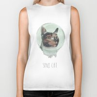 space cat Biker Tanks featuring Space Cat by MaryAube